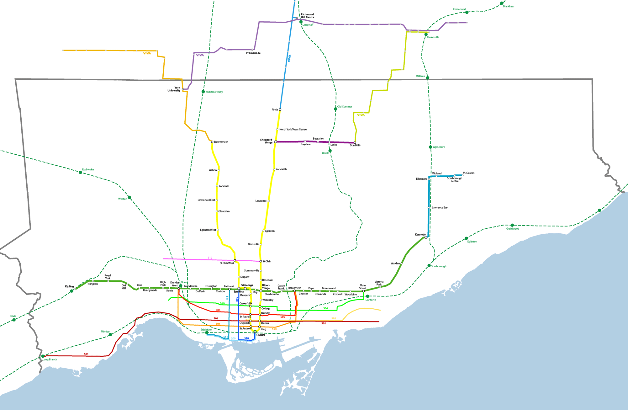 Toronto Subway Map With Streets.Bricoleurbanism Toronto Transit Map Reimagined