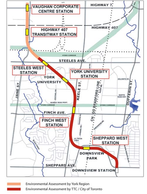 Spadina Extension preferred alignment