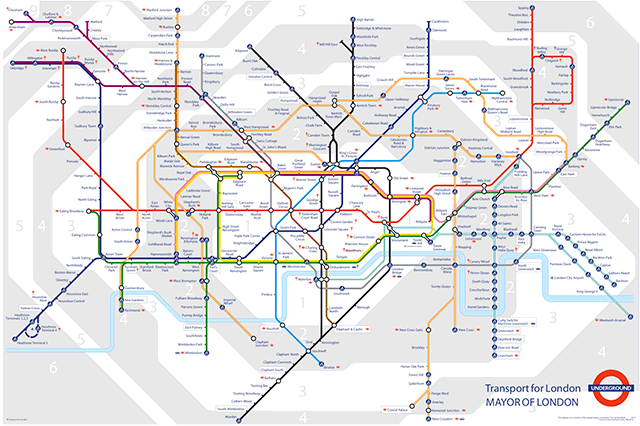 london underground zones 1 and 2. of London Underground